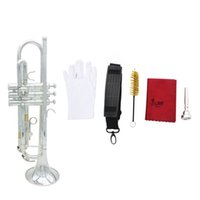 Wholesale Trumpet Bb B Flat Silver plated Brass Trumpet Exquisite with Mouthpiece Cleaning Brush Cloth Gloves Strap