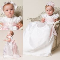 arrival communications - New Arrival Christening Dresses For Baby Girls With Sleeves Jewel Neck Long Baptism Wear First Communication Gowns