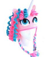 Wholesale My Little Pony Unicorn Horse Crochet Knitted Hat Baby Girls Cartoon Character Caps Infant Toddler Newborn Kids Winter Children Beanie Cotton