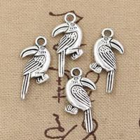 antique parrot - 100pcs Charms parrot bird mm Antique Zinc alloy pendant fit Vintage Tibetan Silver DIY for bracelet necklace