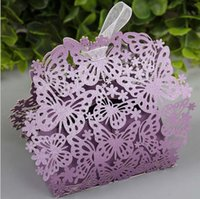 Wholesale Irregular Hollow Butterfly Flower Wedding Day Candy Box with ribbon Party supplies packaging paper boxes creative candy boxes