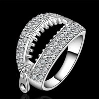 beautiful unique rings - NEW ARRIVE unique design Sterling Silver fashion chain ladies beautiful Party engagement zricon Ring jewelry factory price R585