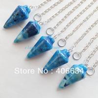 Wholesale Min order mix Blue Crazy Lace Agate pendulum Pendant Bead