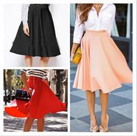 Acrylic+Spandex Solid 66-82 Summer Autumn Women Casual Skirts 2016 New Fashion Elegant Solid High Waist Slim Pleated A-line Bust Skirt Hot Sale Womens Midi Skirt