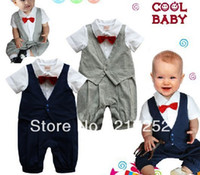 Wholesale Baby romper baby One Piece romper boy s Gentleman modelling romper with waistcoat with red tie baby climb clothes kids outwear