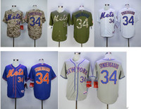Wholesale Men s New York Mets Noah Syndergaard mlb jersey Majestic white blue army green camo gray Authentic player Number baseball Jersey