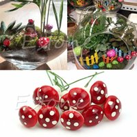 Wholesale Hot Sale Mini Red Mushroom Garden Ornament Miniature Plant Pots Fairy DIY Dollhouse