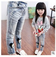 Wholesale Girls Jeans Autumn New Children Pants Casual Cute Cartoon Mickey Broken Hole Trousers Kids Clothes B0972