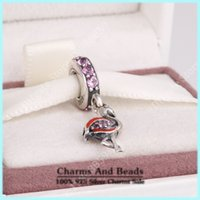 pink flamingos - Red Enamel Flamingo Pendant Charms With Pink Cubic Zirconia Fits Pandora Bracelets Sterling Silver Animal Charms For Women Bracelets