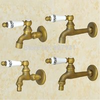 Wholesale type Wall Mounted Ceramic Handles Washer Machine Tap Antique Brass Cold Water Mop Pool Faucet