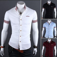 Wholesale Men s casual Short Sleeve shirt Slim Fit cotton blend Colors derss shirts M XXL polo cotton turn down collar