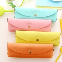 Wholesale New Candy Colors Coin Purse Cosmetic Bag key holder KOREA Style Big Creation Pen Bags Pencil Cases Mixed PU Leather Buckle Purse ZJ T08