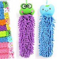 Wholesale Hanging type ultra fine chenille cartoon of bamboo fiber bath towel sweet multi purpose cleaning OPP g
