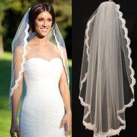 Wholesale Short Vintage Veil One Layer Tule Lace Appliques Edge Tulle Bridal Veils Cheap Wedding Veils W6480