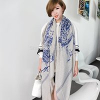 Wholesale Patch Wire Women Retro Super Beautiful Scarf Personality Dragon Sunscreen Essential Travel Cotton Scarves Large Shawl Flash