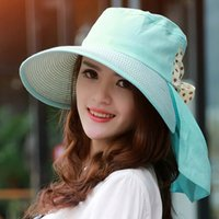best beach accessories - Hot Sale Stylish Lady Accessories Sun Hat foldable Wide Large Brim Summer Style Travel Beach Cap With Big Bowknot Best Gift