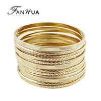 Wholesale Hip Hop Rock Style Unique New Arrival Gold And Silver Color Big Bangles Set For Bracelets for Women Pulseira Feminina