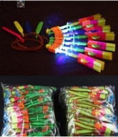 Wholesale LED Arrow Helicopter LED Amazing Arrow Flying Helicopter Umbrella Kids Toys for Sports Funny Slingshot birthday party supplies Kids Gift