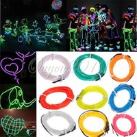 Wholesale 5M Meter Colors EL Wire Tube Rope Battery Powered Flexible Neon Light Party Decor With Controller