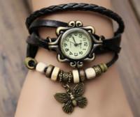 al por mayor manera de las mujeres verdes de cuarzo-2016 VENTA CALIENTE retro reloj de cuarzo armadura de la manera Abrigo alrededor de la pulsera del cuero del brazalete de las mujeres de la mariposa verde de la muchacha del reloj