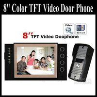 Wholesale 8 Inch TFT Monitor LCD Video DoorPhone with Take Picture and Record peephole viewer Intercom DoorBell Rings IR CMOS IP Camera