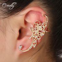 Wholesale Full Crystal Earrings Clip Butterfly Earrings Elf Ear Cuff Ear Clip Hanging Earrings Fashion Jewelry Jhumka Earcuff