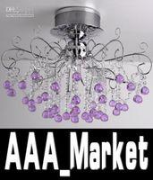 Wholesale Modern Romantic Purple Transparent K9 Crystal Living Room Ceiling Lamp Crystal Chandelier Dia mm