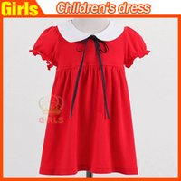 dolls clothes - 2015 summer fashion kids clothing korean doll collar shot sleeve skirts cute princess dress for baby girls
