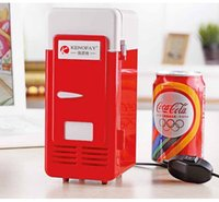 Wholesale USB mini fridge hot and cold dual cooling and heating a small refrigerator freezer storage cabinets cosmetic kits