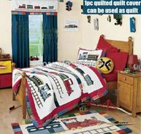 Wholesale Hand made Mediterranean red train bedding children s boys gift home decor cotton fabric Twin Full queen quilted quilt cover pc