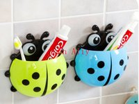 Wholesale Hot selling Cute Funny Cartoon Yellow Red Blue Green Ladybug Sucker Suction Hook Tooth Brush Holder