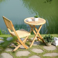 Wholesale Solid wood tea table ash outdoor furniture balcony chair and table milk tea shop folding table