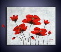 acrylic painting palette knife - Original Handpainted On Canvas Beautiful Red Flower Acrylic Palette Knife Painting Modern Abstract Art Oil Painting Wall Picture