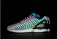 Wholesale The chameleon men s and women s shoes ZX FLUX XENO new all star reflective black snake spirit leisure shoes