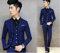 Wholesale New Arrivals Two Buttons Royal Blue Groom Tuxedos Notch Lapel Groomsmen Men Wedding Tuxedos Dinner Prom Suits Jack Jacket Pants Vest q197
