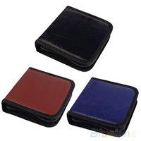 Wholesale 40Pcs CD VCD DVD Discs Faux Leather Organizer Holder Case Wallet Storage Bag UPT