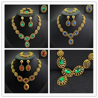 Wholesale Gold necklace colors Vintage Charm Necklace Bracelet Earrings Ring Fashion Jewelry Set For Women alloy jewelry sets