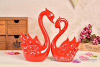 Wholesale European Style Red Swan Lovers Crystal Swan Home Decoration Wedding Furnishing Wedding Present Luck Mascot Bridal Chamber Decoration Craft