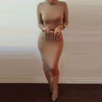 Wholesale 2015 New Brand Long Party Dresses High Collar Sexy Bandage Bottoming Women Dress Casual Dress Vestido de festa NB00968