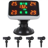 Wholesale 1 x LED Monitor x Sensors Real time Digital Car Tyre Pressure Temperature Monitoring System CEC_768