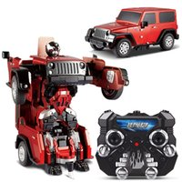 Wholesale Wrangler Transformation RC Cars Robots Jeep Off road Remote Control Car Children s Toys Gifts Juguetes Brinquedos