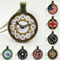 american time clock - 2015 New European and American fashion retro clocks pendant necklace time gem sweater chain High quality