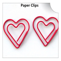 30*30MM best paper clips - 200Pcs Double Heart Love Shape Paper Clips Cute Bookmark Memo Clip Stationery for Office School Home Use Xmas Best Gift