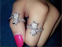 Wholesale Fashion Crystal gemstone rings Charming Alloy Double Five pointed star Charm Ring Plating Gold Silver Ring Cheap jewelry ring for women