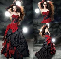 red and black wedding dresses - Gothic Ball Gown Black and Red Wedding Dresses Plus Size Bridal Gowns Beads Applique Sweetheart Lace up Backless Draped Sweep Train