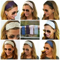 stretch band - S Fashion Women Girl Stretch Lace crochet Wide Headband Hair Band Boho Headwraps