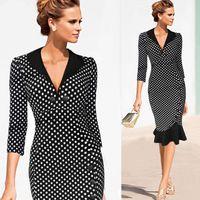 Wholesale Elegant Slim Mermid Work Dress Polka Dots Middle Sleeve Deep V Neck Evening Party Dress Fashion Women Plus Size OL Work Dresses OL154