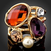 cubic zirconia stone - First grade Natural Stone and Pearl Fashion Big Statement Ring Vintage Jewelry Bijoux Joyas K Gold Antique Gold Plating