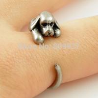 Venta al por mayor-Hot Sale Cocker Spaniel Perro Animal Wrap Anillos para las mujeres y las niñas Anillos únicos Fine Jewelry