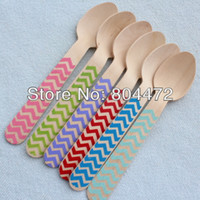 Wholesale Customized Chevron Disposable Natural Wooden Spoon cm Green Blue Red Disposable Party Wooden cutlery catering XMAS